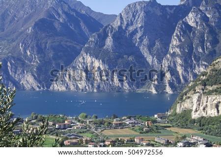 mountain lake Garda, a Aerial View on a sunny day #504972556