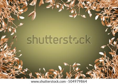 gold mistletoe on christmas background #504979864