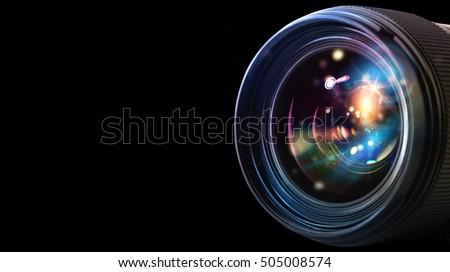 Professional camera lens Royalty-Free Stock Photo #505008574