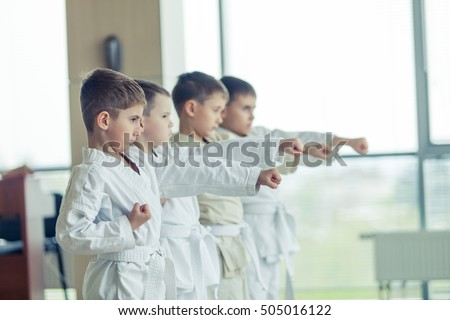young, beautiful, successful multi ethical kids in karate positi Royalty-Free Stock Photo #505016122