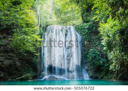 Erawan waterfall, the beautiful waterfall in deep forest at Erawan National Park - A beautiful waterfall on the River Kwai. Kanchanaburi, Thailand #505076722