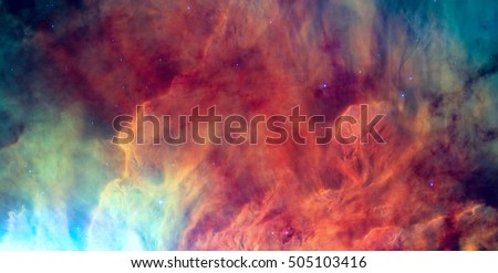 Waves breaking in the stellar Lagoon Nebula or emission nebula Messier 8. It is a giant interstellar cloud in the constellation Sagittarius. Retouched image. Elements of this image furnished by NASA.