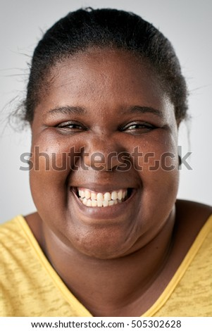 Real black african woman smiling portrait full collection of diverse faces #505302628
