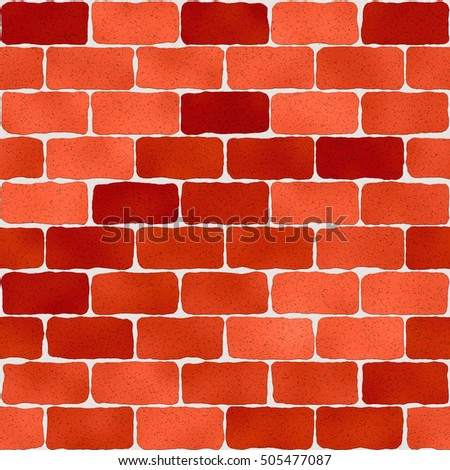Bright red brick wall pattern, abstract seamless texture