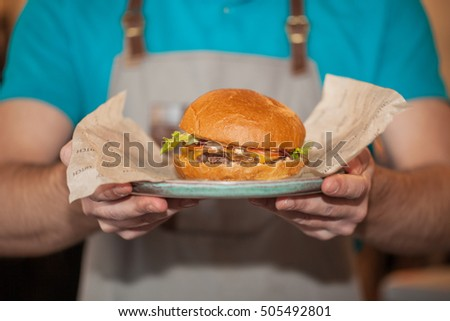 Beef burger on a plate #505492801