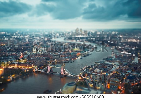 London skyline with illuminated Tower bridge at the dusk, The United Kingdom of Great Britain and Northern Ireland #505510600