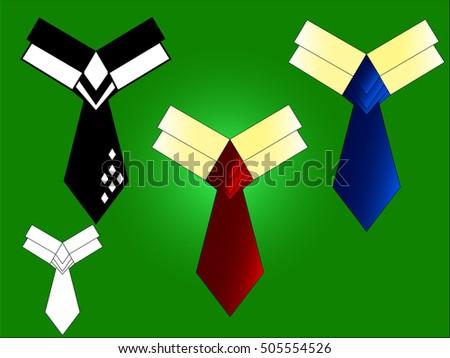 Necktie vector illustration.Necktie in black,red,blue anb white colors.Necktie on green background. #505554526