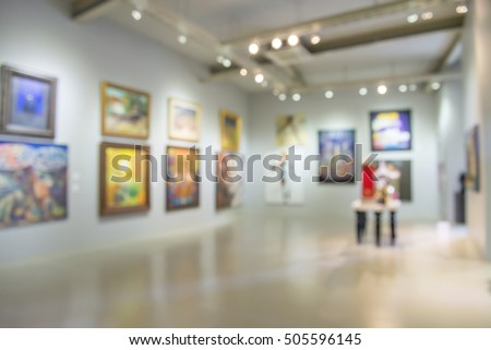 Abstract blur contemporary art gallery for background usage #505596145
