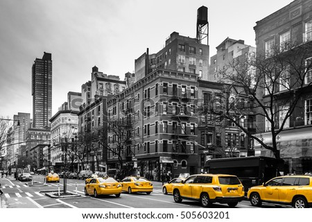 Photo of Yellow cabs at Upper West Site of Manhattan, New York City