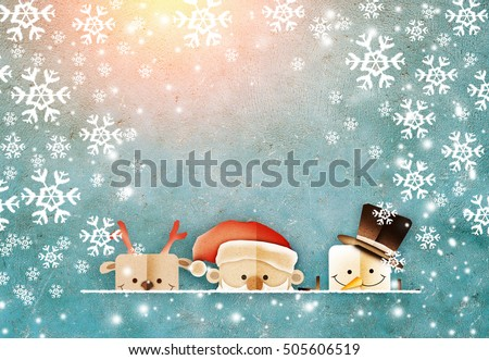 Greeting card, Christmas card with Santa Claus ,deer and snowman papercut shape on old vintage blue color wall background