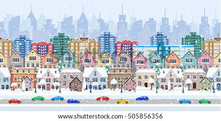 winter city street with trees and car. seamless border panorama with a winter cityscape. vector illustration #505856356