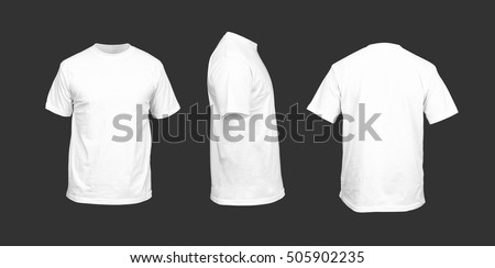 Men's t-shirt of white color against a dark background Royalty-Free Stock Photo #505902235