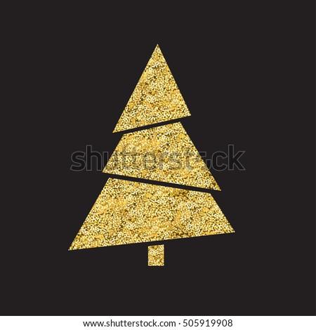 Golden Fir Tree. New Year Tree sign. Gold texture. Golden foil. #505919908