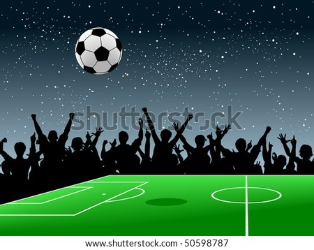 Design of a crowd around a football pitch at night #50598787
