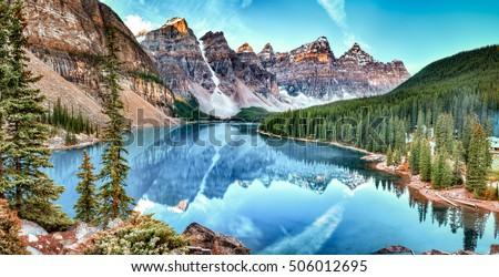 Moraine lake panorama in Banff National Park, Alberta, Canada Royalty-Free Stock Photo #506012695