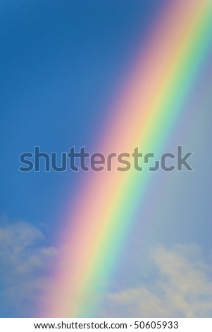 Rainbow in the blue sky, photo of