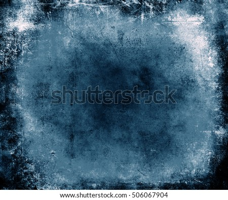 Blue Scratched Grunge Abstract Texture Background. Scary halloween poster with faded central area for your text or picture and frame