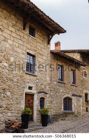 Architecture of Perouges, France, a medieval walled town, a popular touristic attraction. #506368015