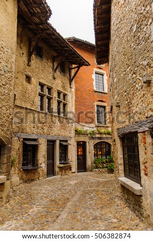 Stone house of Perouges, France, a medieval walled town, a popular touristic attraction. #506382874