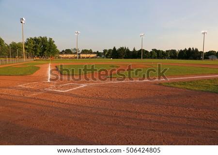 A wide angle shot of a baseball field.  #506424805