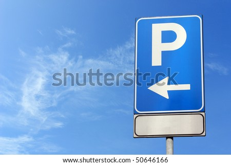 parking symbol over blue sky, with room for text