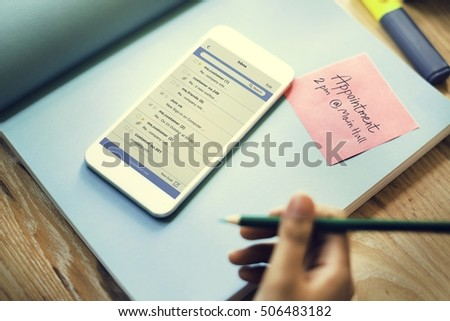 Smart Phone Email Correspondence Note Concept #506483182