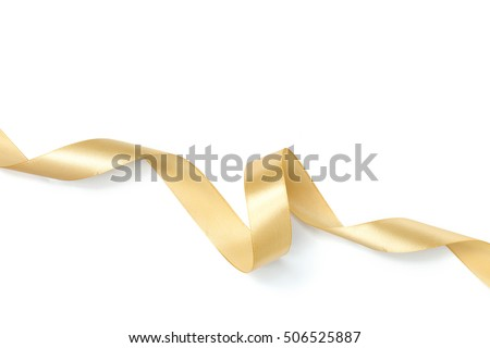 Golden ribbon collection isolated on white #506525887