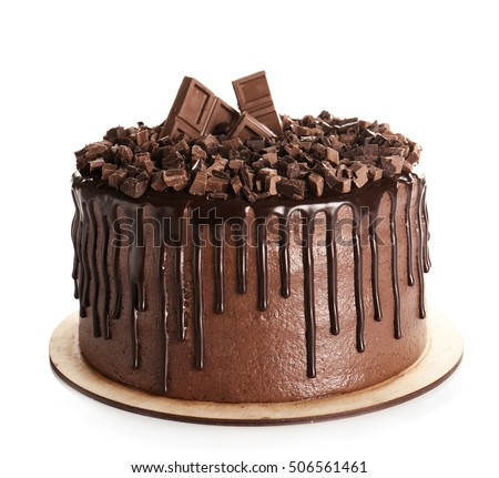 Tasty chocolate cake isolated on white Royalty-Free Stock Photo #506561461