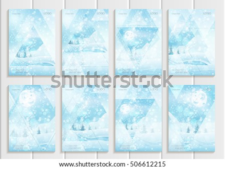 Stock vector set of brochures design Christmas templates, abstract triangles, winter landscape New Year glow full moon night background for printed material, element, web site, card, covers, wallpaper #506612215