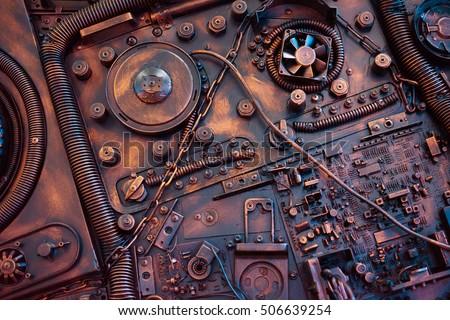 Stylized of a steampunk mechanical Royalty-Free Stock Photo #506639254