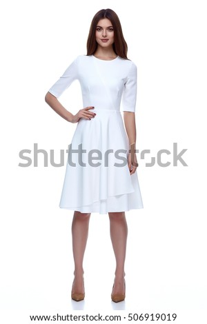 Woman in white short dress fashion catalog clothing beauty cute face summer spring collection style glamour model bride bridesmaid date passion mode vogue wedding dress #506919019