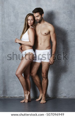 Loving undressed couple in studio #507096949