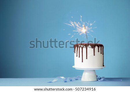 Cake decorated with a sparkler
