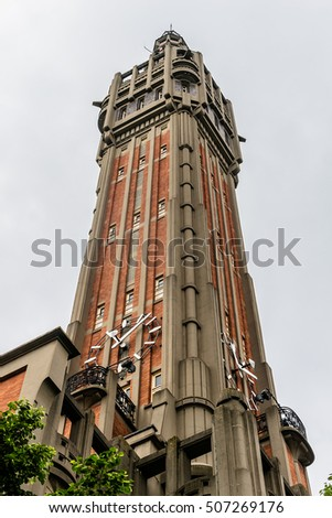 Belfry of town hall Lille - one of architectural symbols of region Nord Pas de Calais. belfry of Lille is heist of region: with its 104m high, it dominates town. Lille, Flanders, France. #507269176