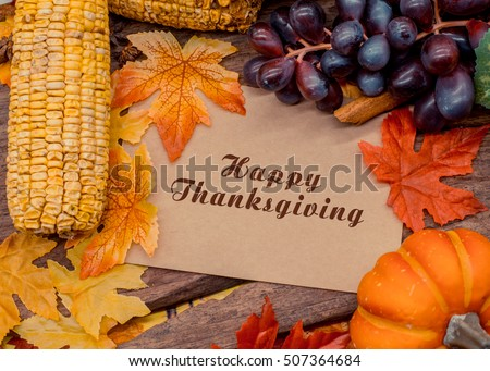 Happy Thanks giving day, text with frame, Autumn season #507364684