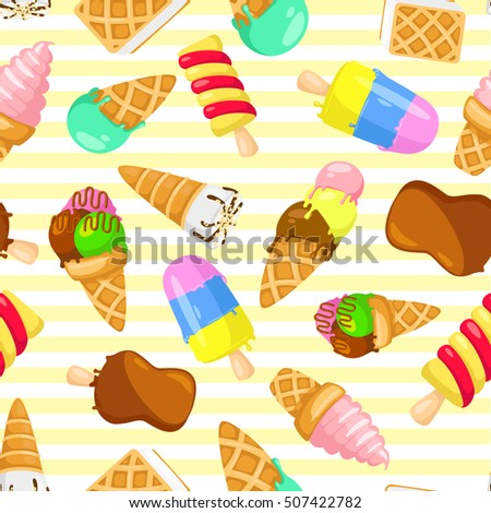 Colorful pastel pattern of ice cream on a striped background. seamless pattern with ice cream. Funny cartoon style.  illustration Rasterized Copy