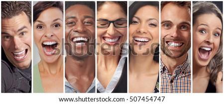 Happy people faces set #507454747