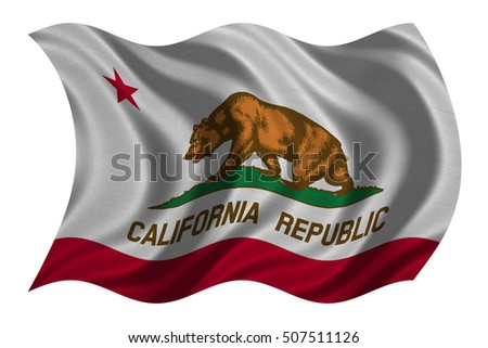 Flag of the US state of California. American patriotic element. USA banner. United States of America symbol. Californian official flag real detailed fabric texture wavy isolated on white, illustration #507511126