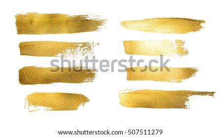 Collection of golden paint strokes to make a background for your design, golden hot foil, gold leaf Royalty-Free Stock Photo #507511279