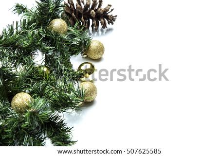 Christmas  decoration details on white background. #507625585