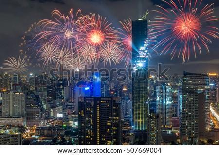 Top view of Bangkok Cityscape at night with Multicolor Firework Celebration, Mahanakhon #507669004