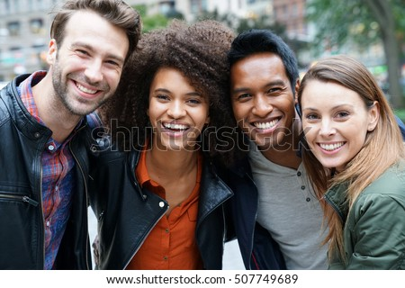 Portrait of multi-ethnic friends in New york Royalty-Free Stock Photo #507749689