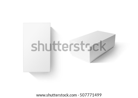 White carton product box set mockup, top side view, clipping path. Clear blank rectangular cardboard phone crate mock up. Plain closed shoe package template isolated. Smartphone store product pack. #507771499