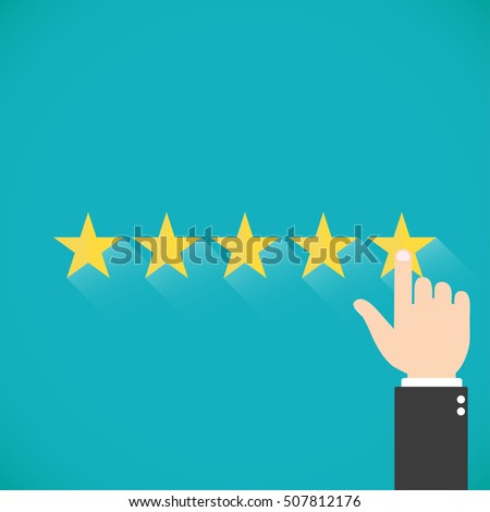 Five gold stars with hand Vector illustration. Finger presses the star. Assessment for web sites #507812176