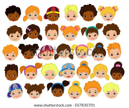 Set of cartoon children's faces. Cartoon child face icon.Raster copy.