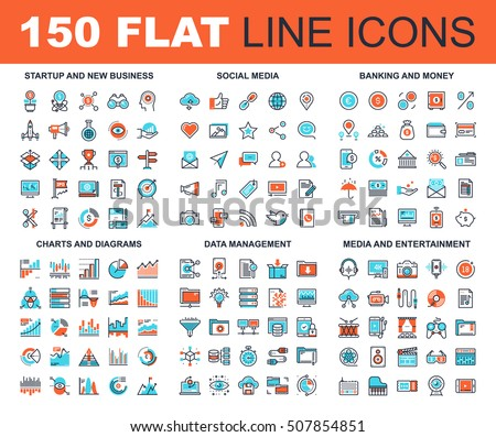 Vector set of 150 flat line web icons on following themes - startup and new business, social media, banking and money, charts and diagrams, data management, media and entertainment