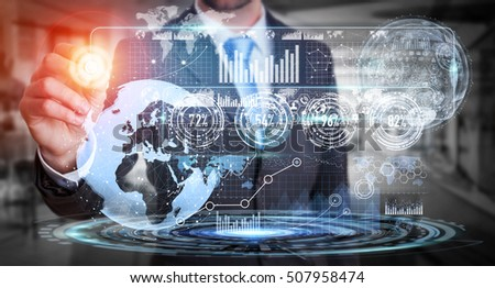 Businessman moving digital datas with a tactile pen on hologram screen 3D rendering #507958474