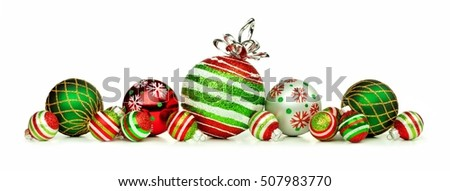 Christmas border of red, green and white ornaments isolated on a white background Royalty-Free Stock Photo #507983770