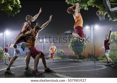 Basketball players in action on court #507985927