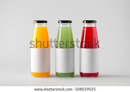 Juice Bottle Mock-Up - Three Bottles. Blank Label #508029025